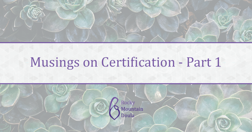 Musings on Certification Pt 1 | Rocky Mountain Doula | Ana M. Hill
