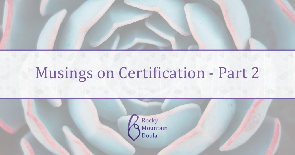 Musings on Certification Pt 2 | Rocky Mountain Doula | Ana M. Hill